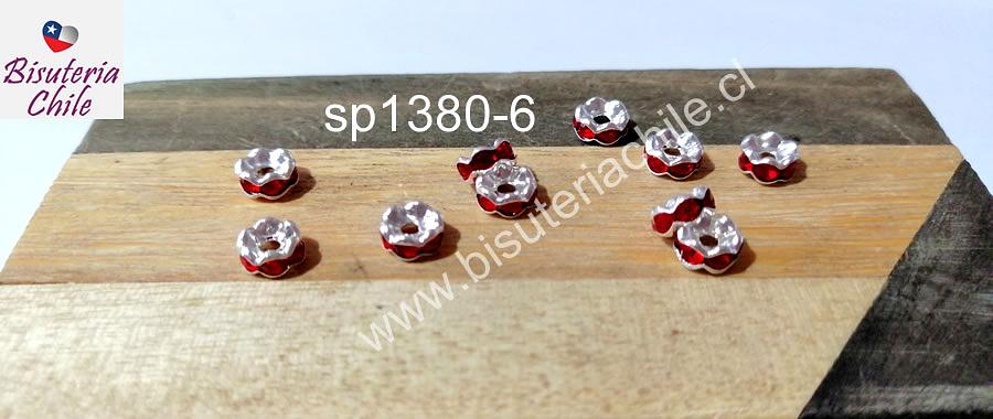 Separador con strass rojos, de 6 mm, set de 10 unidades