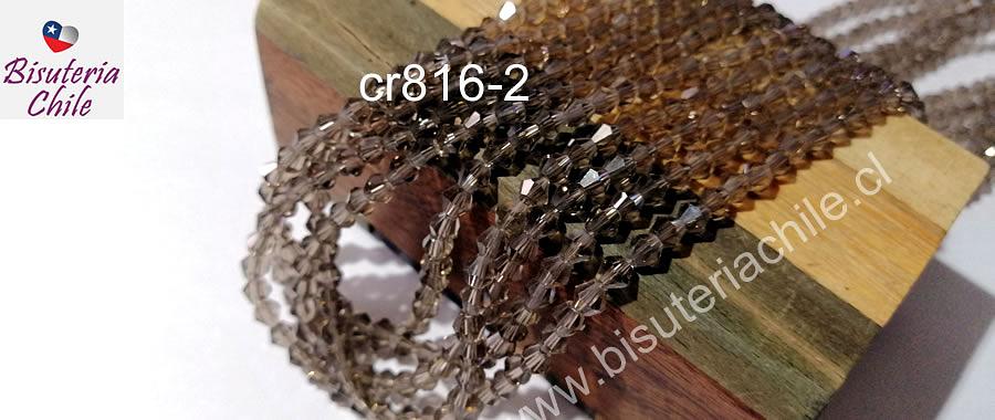 Cristal tupi 4 mm, color café claro fumé, tira de 115 cristales