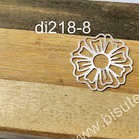 Colgante baño de plata, en forma de flor, 22 mm de diámetro, por unidad