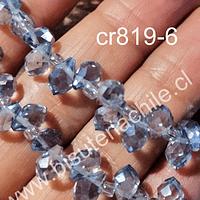 Cristal gota gris facetado primera calidad, 9x 6 mm, set de 12 cristales