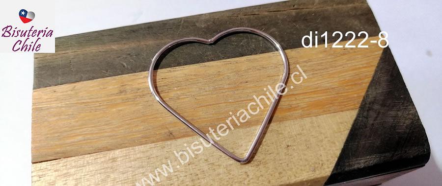 Forma de corazón baño de plata, 37 x 37 mm, por unidad