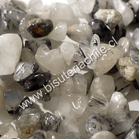 Cuarzo turmalinado piedra chip, tamaño pequeñod tira de 84 cm aprox