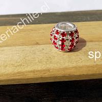 Separador con strass rojo, 10 x 12 mm agujero de 5 mm, por unidad