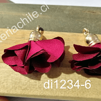 Borla flor burdei base dorado, 24 mm de largo, por par