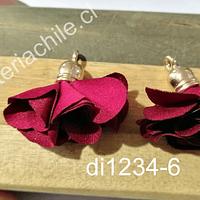 Borla flor burde0 base dorado, 24 mm de largo, por par