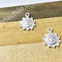 Dije sol baño de plata opaca, 12 mm, set de 2 unidades