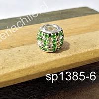 Separador con strass verde, 10 x 12 mm agujero de 5 mm, por unidad