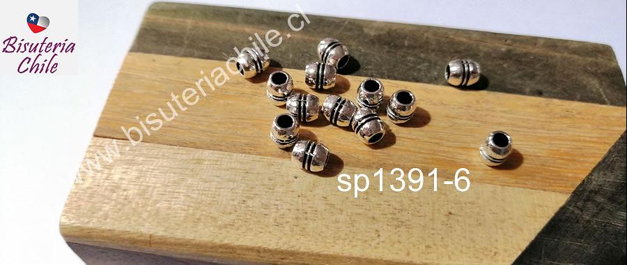 Separador plateado, 6 x 3 mm, agujero de 2 mm, set de 13 unidades