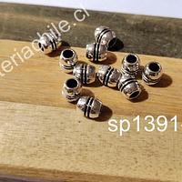 Separador plateado, 6 x 3 mm, agujero de 2 mm, set de 12 unidades