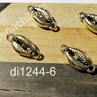 dije dorado doble conexión en forma de conchita, 19 x 8 mm, set de 4 unidades