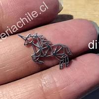 Dije acero en forma de unicornio, 22 x 10 mm, por unidad