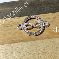 Dije colgante doble conexión, con strass, infinito, 16 mm de diámetro, por unidad