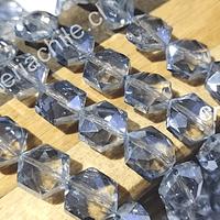 Cristal facetado especial color gris de 11 mm, 6 mm de ancho, set de 10 unidades