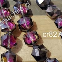Cristal facetado especial color fucsia tornasol de 11 mm, 6 mm de ancho, set de 10 unidades