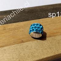 Separador con strass color calipso, 10 mm de ancho x 8 mm de alto, agujero de 5 mm