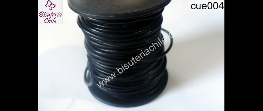 Cuero negro delgado 1,5 mm de ancho, por metro
