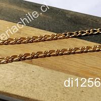Cadena acero dorado tipo cartier, 3 mm de ancho, por metro