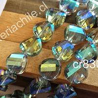 Cristal facetado tornasol de 12 mm x 4 mm de ancho, gris , set de 10 unidades