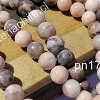 Jaspe Cebra rosa, en 8 mm tira de 48 piedras aprox.