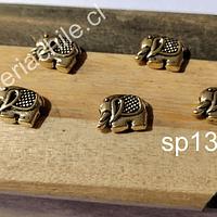 Separador dorado en forma de elefante, 12 mm x 9 mm, agujero de 1,4mm, set de 5 unidades