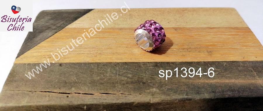 Separador con strass color rosado 10 mm de ancho x 8 mm de alto, agujero de 5 mm