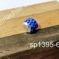 Separador con strass color celeste baby blue 10 mm de ancho x 8 mm de alto, agujero de 5 mm