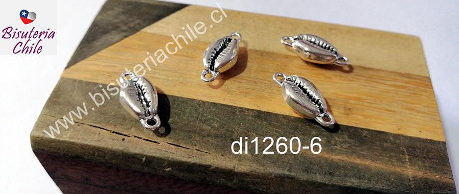 dije plateado doble conexión en forma de conchita, 19 x 8 mm, set de 4 unidades