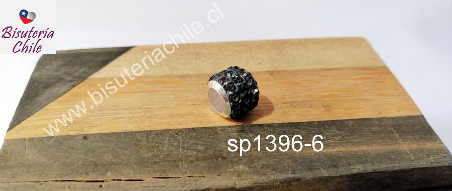 Separador con strass color negro 10 mm de ancho x 8 mm de alto, agujero de 5 mm