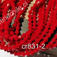 Cristal tupi 4 mm, color rojo, tira de 115 cristales