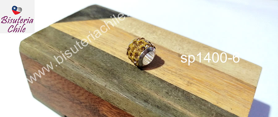Separador con strass color dorado 10 mm de ancho x 8 mm de alto, agujero de 5 mm
