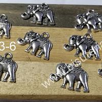 Dije plateado en forma de elefante, 17 x 13 mm, set de 9 unidades