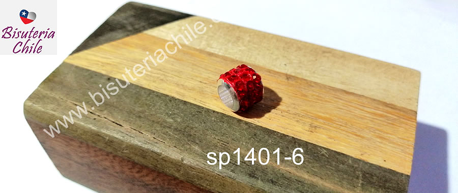 Separador con strass color rojo 10 mm de ancho x 8 mm de alto, agujero de 5 mm