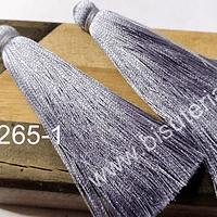 Borla gruesa 1era calidad, de hilo de seda, color gris, 7 cm de largo, set de dos unidades