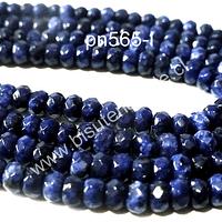 Piedra agata de 4 mm en forma de abaco, en tono azul, tira de 130 piedras aprox