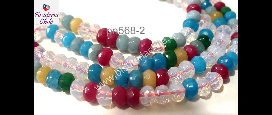 agata facetada multicolor 6 mm achatada, en tonos celestes, transparentes rosados y amarillos tira de 85 piedras aprox.