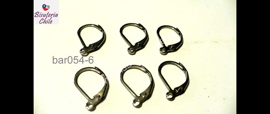 Gancho de aro acero inoxidable, 15 mm de largo por 10 mm de ancho, set de 3 pares