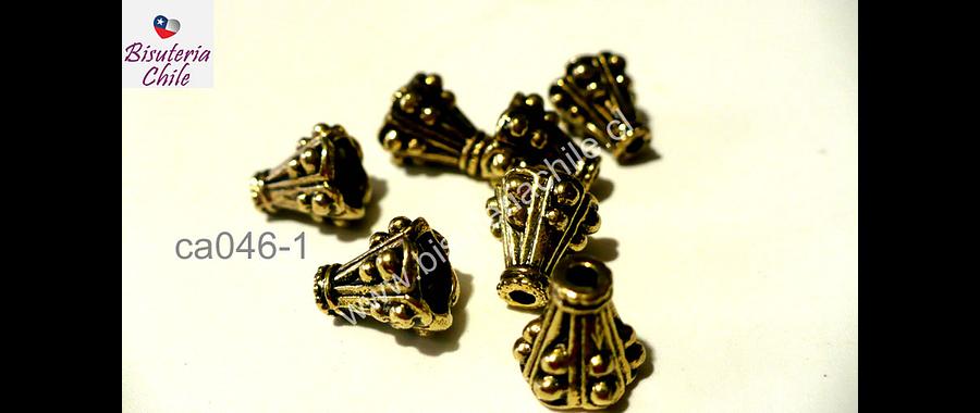 Casquete dorados 10 mm de largo pr 8 mm de ancho, set de 7 unidades