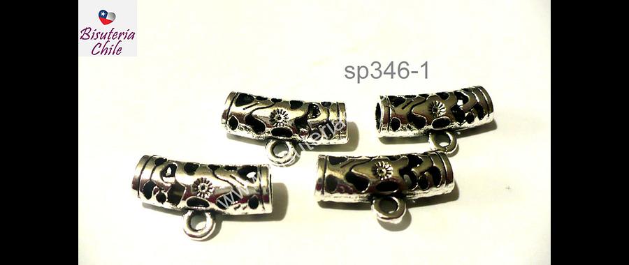 Separador con diseño con argolla para dije o colgante, 21 mm de largo por 8 mm de ancho, agujero de 4 mm, set de 4 unidades