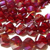 cristal rojo 10 mm, redondo con cortes facetados, tira de 20 unidades