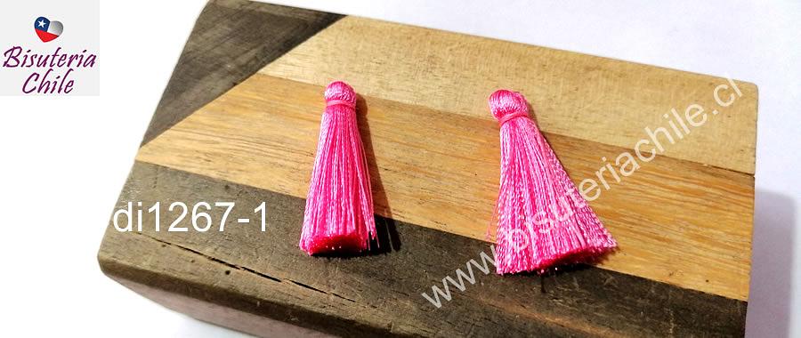 Borla de seda color rosado, 26 mm de largo , por par