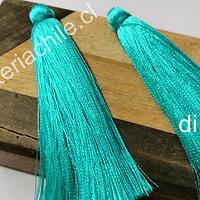Borla gruesa 1era calidad, de hilo de seda, color calipso, 7 cm de largo, set de dos unidades