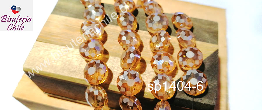 Cristal facetado especial en color naranjo claro, 12 x 7 mm, tira de 10 unidades
