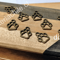Dije envejecido en forma de pata de perro, 13 x 11 mm, set de 10 unidades