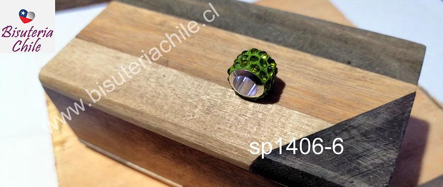 Separador con strass color verde  10 mm de ancho x 8 mm de alto, agujero de 5 mm