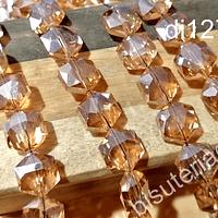 Cristal facetado especial color naranjo de 11 mm, 6 mm de ancho, set de 10 unidades