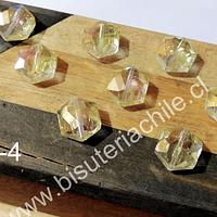 Cristal facetado especial color amarillo de 11 mm, 6 mm de ancho, set de 10 unidades