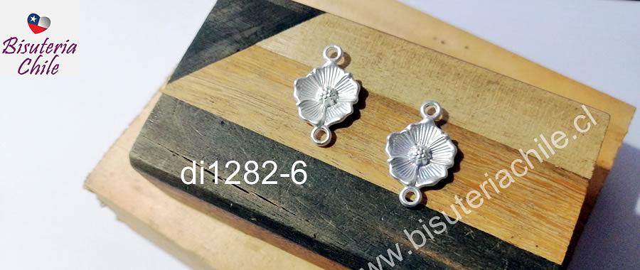 Dije doble conexión baño de plata en forma de flor, 24 x 15 mm, set de 2 unidades