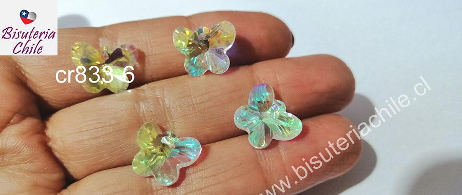 Cristal en forma de mariposa tornasol, 15 x 11 mm, set de 4 unidades