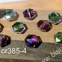 Cristal facetado especial color tornasol de 11 mm, 6 mm de ancho, set de 10 unidades