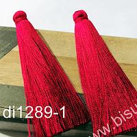 Borla gruesa 1era calidad, de hilo de seda, color rojo italiano 7 cm de largo, set de dos unidades